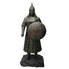 园林景观西域勇士铸铜雕像蒙古武士塑像玻璃钢将军拉弓射箭小孩雕塑草原文化将士铜像广场古代人物小品