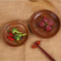 加工定制黑胡桃实木点心盘 实木果盘 圆形餐盘日式餐具木碟托盘