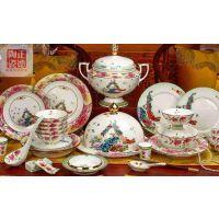 乔迁结婚送礼餐具皮箱木箱装 中式宫廷珐琅瓷餐具