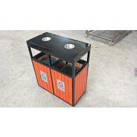 户外三分类垃圾箱 园林湿地果皮箱方形钢木 环卫垃圾桶