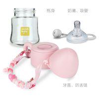 厂家直销 宽口径宝宝防胀气奶瓶 带柄带吸管新生儿玻璃奶瓶