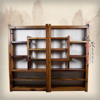 老船木博古架古玩架展示架中式仿古实木多宝阁书架置物架茶叶架