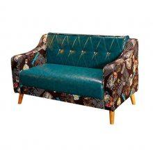 海口咖啡厅家具定制,简约双人位油腊皮咖啡店扶手沙发
