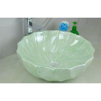 卫浴陶瓷无孔彩色绿色台上豪华新款彩绘独立式洗手盆
