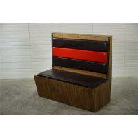 双人位实木油漆软包卡座沙发定做,东莞古典风烤鱼店卡座沙发厂家