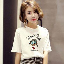 韩版女装便宜早春新款字母印花圆领宽松女式短袖打底衫棉t恤学生装厂家直销