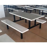 食堂餐桌椅玻璃钢餐桌椅学校学生员工餐桌椅连体快餐桌椅饭堂餐