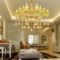 顺其自然水晶吊灯玉石背景墙吊灯 全铜花形吊灯乐清客厅吊灯