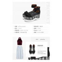 欧美独特女鞋Jeffrey Campbell春夏新品黑色露趾一字带舒适厚底亮片拉链凉鞋