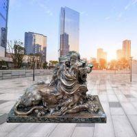石雕狮子大理石欧式现代汇丰爬狮摆件一对曲阳万洋雕刻厂家现货销售加定做