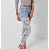 2018外贸爆款 ebay速卖通性感蕾丝拼接牛仔裤白搭修身小脚裤女
