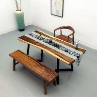 南美胡桃木实木大板整块原木办公桌茶台餐桌板简约现代木板桌批发