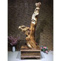 秦岭太行崖柏根雕木雕木质工艺作品仙女散花红豆杉金丝楠木树根整体雕刻摆件工艺品动物人物雕像山水