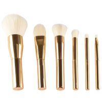 现货6支化妆刷套装全金色电镀高档铝管仿羊毛人造纤维毛厂家直批