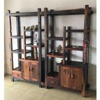 老船木博古架实木多宝阁置物架茶叶架古玩展示柜书架沉船木家具