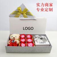 天地盖首饰盒白色创意首饰包装盒小熊香皂花礼盒精品礼物现货批发