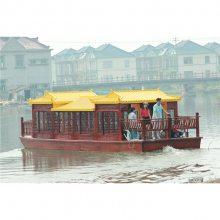 上海崇明出售特色餐饮船 水上房船 12米仿古画舫船 玻璃钢游船 好木船 楚歌造
