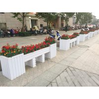 绍兴万维微发泡PVC花箱种植养护道路隔离护栏景观园艺围栏市政绿化工程