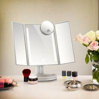 led化妆镜 大三面折叠usb灯条镜 放大镜 触屏调光化妆镜