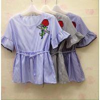 厂家***新款 时尚韩版女装上衣 雪纺女装上衣 特价女短袖批发 虎门服装厂家