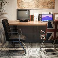 美式浓情铁艺实木办公室咖啡厅网吧家用电脑桌椅组合