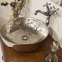溶盛陶瓷银色台上无孔彩色欧式圆形新款艺术盆洗手盆