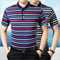 中老年男装短袖t恤2018夏季翻领套头polo衫爸爸装条纹男士棉体恤