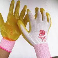 厂家直销尼龙线胶pvc防切割绝缘耐磨手套 创信P218小半挂浸胶防水普通劳保手套