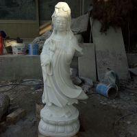 观音雕像 汉白玉石雕观音佛像雕塑 寺院佛像雕刻加工