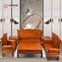 檀明宫红木家具紫檀花梨沙发六件套三单人位实木古典中式沙发茶几组合