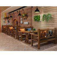 新款实木地中海餐桌 复古做旧成套餐桌椅热销