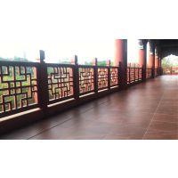 新疆市木纹热转印围栏园林复古铝窗花_仿古式扶手铝窗花德普龙厂商