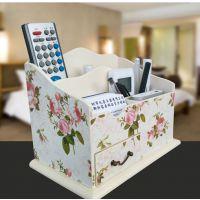 工厂定做遥控器收纳木盒 创意田园多功能家居整理杂物抽纸木盒