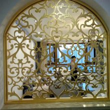 合肥香槟金铝板雕刻屏风古铜色屏风高贵显气质