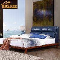 北欧全实木床 1.8米白蜡木日式床 简约软包靠背床 美式主卧婚床 新中式现代卧室1.5m防真皮床