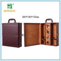 高档特色质感皮革红酒盒加宽型带酒具2瓶装特色定制