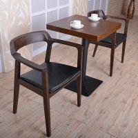 海德利简约现代餐桌椅组合咖啡厅甜品店奶茶店实木餐桌会议桌