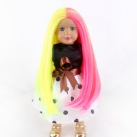 广州假发批发市场 直销18inch美国娃娃假发 cosplay彩色中分长直发 进口化纤假发套
