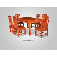 山西太原精品红木家具价格表缅甸花梨大果紫檀福禄寿餐台7件套