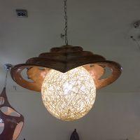 玛斯欧灯饰复古木纹色喷漆梯田艺术造型藤球灯罩树脂材质室内家用餐厅吊灯MS-P1032