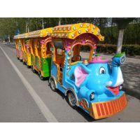 儿童游乐设备厂供应LED炫彩灯光大象无轨小火车