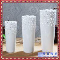 青花瓷花瓶摆件三件套盘子景德镇陶瓷器中式博古架仿古瓷瓶三件套
