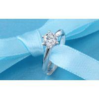 创意6爪莫桑石18K白金莫桑女钻戒 定制结婚戒指克拉钻戒