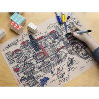 源康生产GalaxyAngelo宝宝儿童硅胶餐垫 可水洗涂鸦画垫隔热垫西餐垫