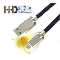 宏浩达手机数据线工厂锌合金安卓数据线快速充电线micro USB厂家直销