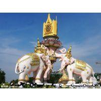 泰国大象雕塑-水景大象喷泉设计图-吉祥物景观雕塑厂家