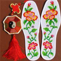 针孔鞋垫绣花十字绣鞋垫 纯手工绣制 纯棉 半成品 支持混批 厂家