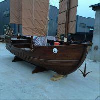 殿宝手工艺木船厂出售各类景观装饰木船 室内景观摆件船 户外广场海盗船 表演道具船