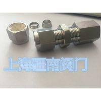 供应1/4-1/8FNPT直通式硬管板固定接头 不锈钢管连接使用