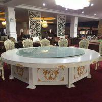 厂家直销酒店电动圆桌遥控新款实木大理石简约现代餐桌饭店桌椅